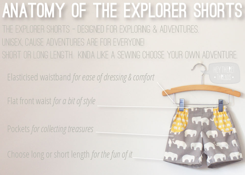 Explorer Shorts - Unisex PDF sewing pattern - Hey There Threads