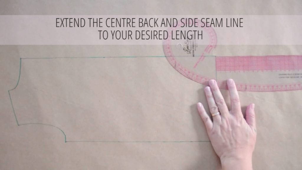 Extend the centre back and side seam line to your desired length