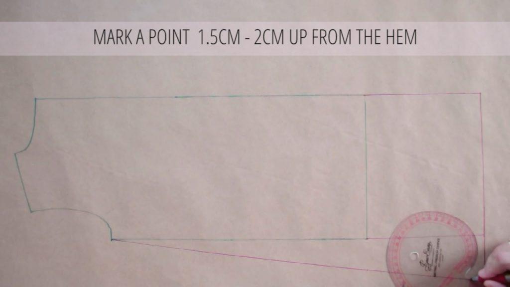 mark point 2cm up from hem